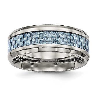 8 mm のチタン研磨青炭素繊維インレイ リング - 指輪のサイズ: 7 に 13