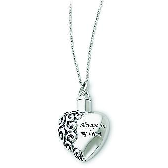 Gift pouch Spring Ring Polished back Rhodium-plated Antique finish Antiqued Always In My Heart Remembrance Necklace 18 I
