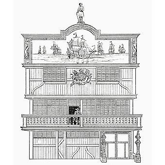 Facade af det gamle Ostindien House London England fra bogen korte historie af den engelske folk JR Green offentliggjort London 1893 PosterPrint