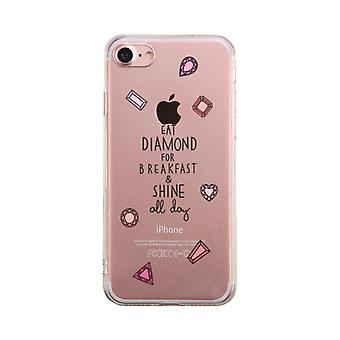 Diamond For Breakfast Transparent Phone Case Cute Clear Phonecase