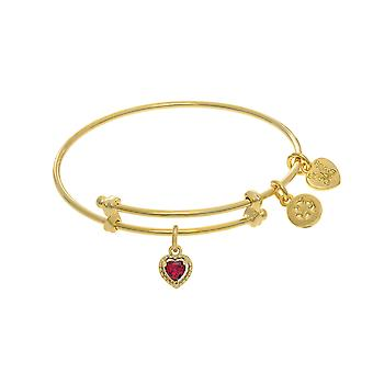 July Heart Shape CZ Birthstone Charm Adjustable Bangle Girls Bracelet