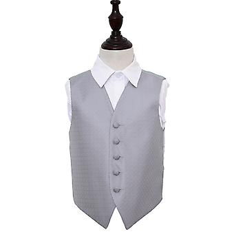 Boy's Silver Greek Key Patterned Wedding Waistcoat