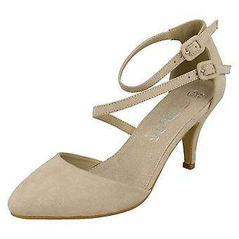 Ladies Spot On Mid Heel Strappy Court Shoes F9657