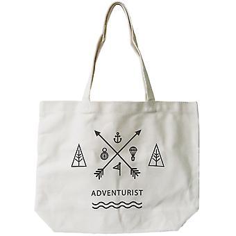 Women's Reusable Canvas Bag- Unique Adventurist Natural Canvas Tote Bag