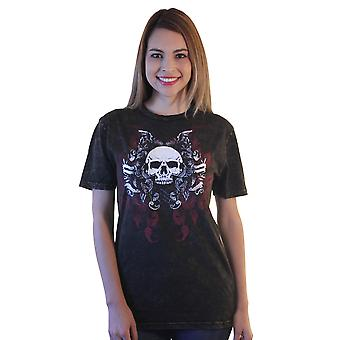 Shirts Happen Skull With Graffiti Graphic Printed Women's Brown Casual T-shirt