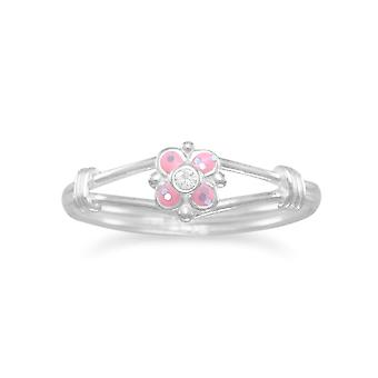 Sterling Silver Pink Flower Childs Ring Pink Glitter Epoxy and Clear Crystal Flower Ring - Ring Size: 3 to 8