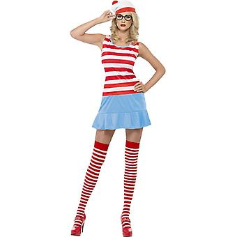 Where's Wenda? Süße-Kostüm Kleid mit Hut Brille und Strümpfen Gr. XS