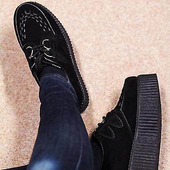 Spylovebuy MATILDA Flat Chunky Creeper Lace Up Platform Shoes - Black Suede Style