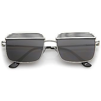 Modern Ultra Slim Arms Metal Cover Super Flat Lens Square Sunglasses 53mm