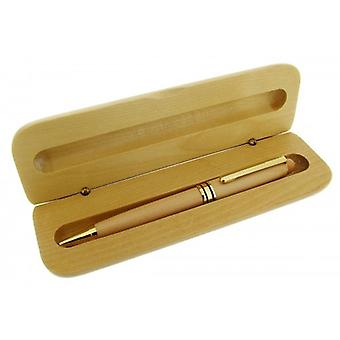 Gift Time Products Wooden Box with Ballpoint Pen - Light Brown/Gold
