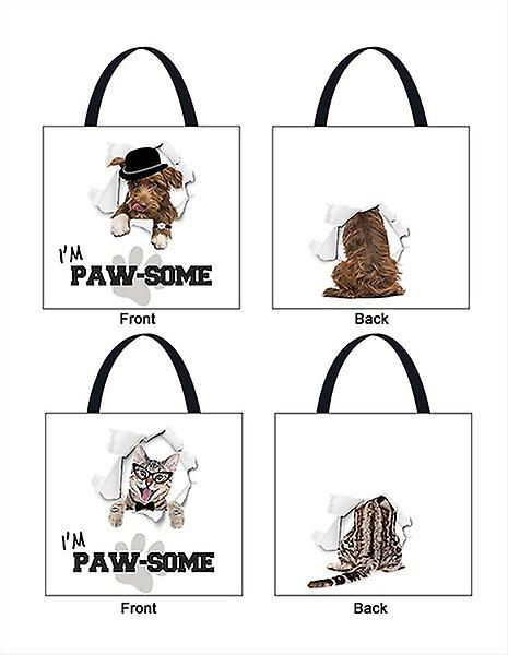Shopping Bag Set of 2 Dog & Cat Design Tote Reusable Waterproof Carry Groceries