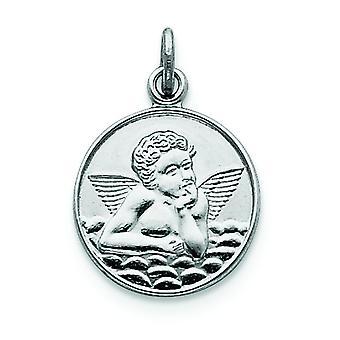 Sterling Silver Solid Satin Polished Engravable Guardian Angel Medal Charm - 1.7 Grams