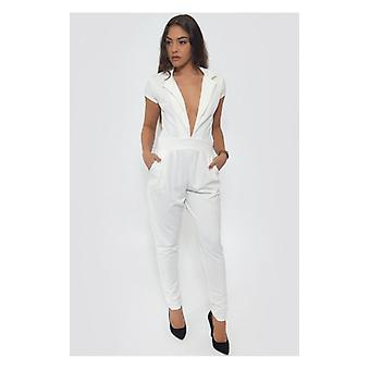 The Fashion Bible Plunge Front White Jumpsuit