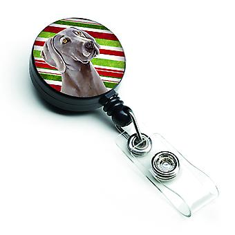 Weimaraner Candy Cane Holiday Christmas Retractable Badge Reel