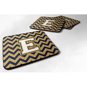 Set of 4 Letter E Chevron Navy Blue and Gold Foam Coasters Set of 4