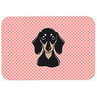 Checkerboard Pink Smooth Black and Tan Dachshund Mouse Pad, Hot Pad or Trivet