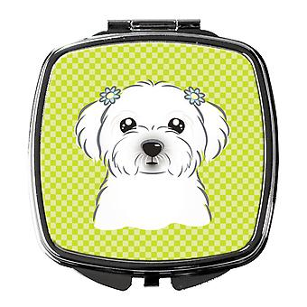 Carolines Treasures  BB1270SCM Checkerboard Lime Green Maltese Compact Mirror