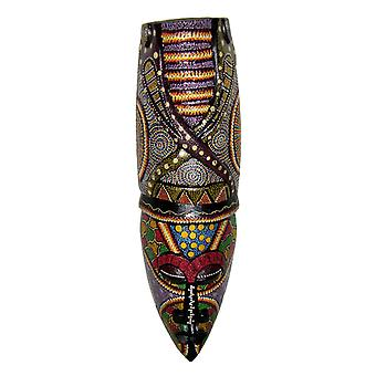 Elaborately Dot Painted Asmat Snek Tribal Wall Mask 20 Inches High
