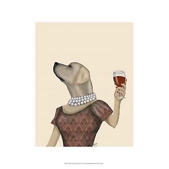 Yellow Labrador Wine Snob Poster Print by Fab Funky (13 x 19)