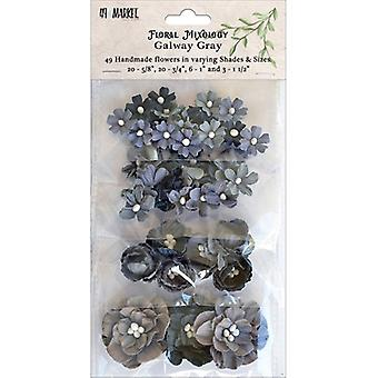 Floral Mixology Paper Flowers Assorted Sizes 49/Pkg-Galway Gray 49FM-85793