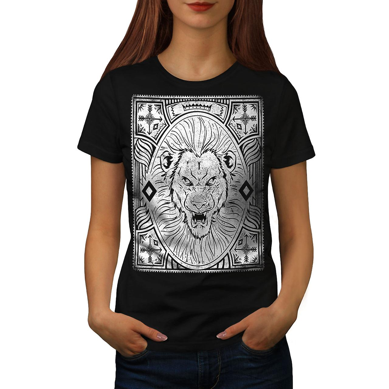 Angry Lion Face Vintage Women Black T-shirt | Wellcoda