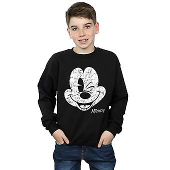 Disney Boys Mickey Mouse Distressed Face Sweatshirt