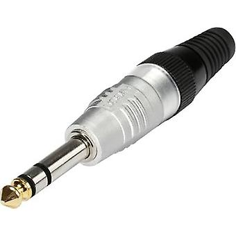 6.35 mm audio jack Plug, straight Number of pins: 3 Stereo Silver Hicon HI-J63S 1 pc(s)
