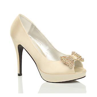 Ajvani женский пятки платформы пип мыс лук свадьба для новобрачных выпускной суд туфли насосы