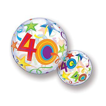 Ballon Bubble Kugel Zahl 40 Geburtstag für Helium und Luft  circa 55cm Ballon
