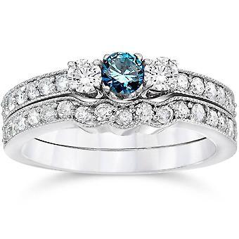 3 / 4ct azul tres piedra compromiso boda Set 14K oro blanco