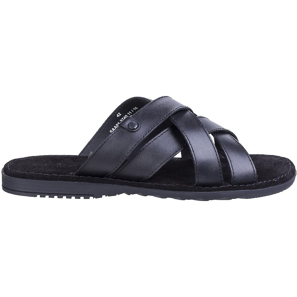 Base London Mens Apollo Waxy Leather Cross Strap Summer Sandals