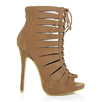 RICH Sand Faux Suede Caged Peep Toe Lace Up High Heel Sandals