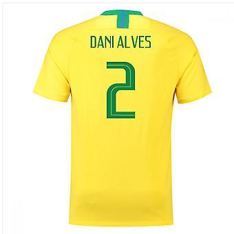 2018-2019 Brazil Home Nike Football Shirt (Dani Alves 2)