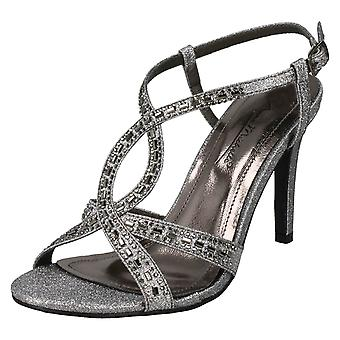 Ladies Anne Michelle Jewelled Strappy Sandals F10834 - Pewter Glitter - UK Size 8 - EU Size 41 - US Size 10
