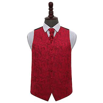 Gilet Bordeaux floreale matrimonio & Cravat Set