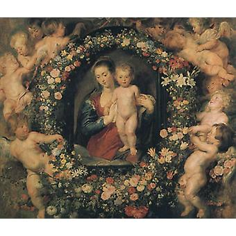 Madonna and Child with Garland of Flowers and Putti ,Peter Paul Rubens