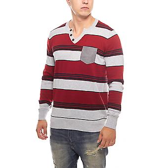 striped men's ribbed knit sweater red MACHA