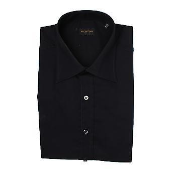 Valentino Men's Spread Collar Stretch Cotton Dress Shirt Black