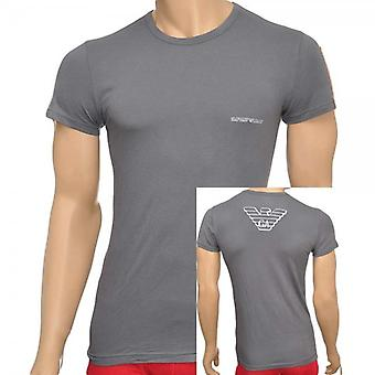 Emporio Armani Eagle Stretch Cotton Crew Neck T-Shirt, Ash Grey, Medium