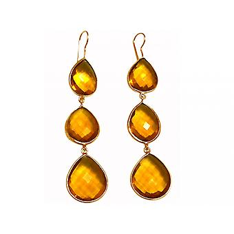 Gemshine Earrings 925 Silver Plated Citrine Quartz Yellow Gold CANDY Drops