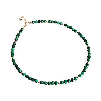 Gemshine - ladies - necklace - gold plated - Malachite - faceted - green - 45 cm