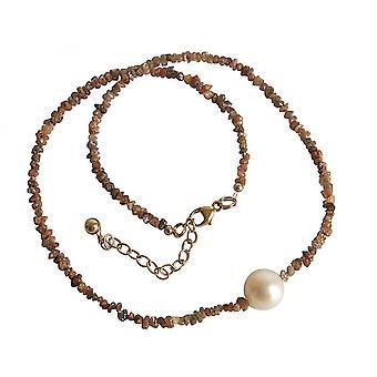 Damen - Halskette - Diamant  - Champagner - Bronze - Perle - Weiß - 45 cm
