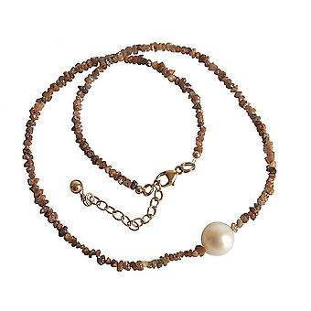 Dames - pendentif - diamant - champagne - bronze - Pearl - blanc - 45 cm