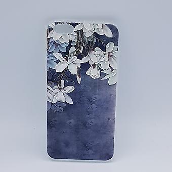 iPhone 6 Plus hoesje - White Lillies on blue