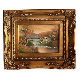 Landscape oil painting with frame, interior dimensions 13 x 18 cm