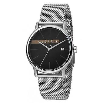 ESPRIT Mens Watch Watches Quartz Analogue Timber Black Silver Mesh
