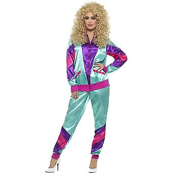 80's Height of Fashion Shell Suit Costume, Female, Teal & Purple, with Jacket & Trousers