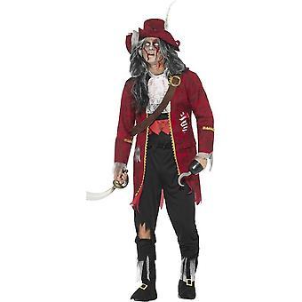Traje de Zombie pirata capitán lujo, rojo, con chaqueta, adjunta costillas látex, pantalones, Bootcovers, falsa camisa, sombrero, gancho y correa