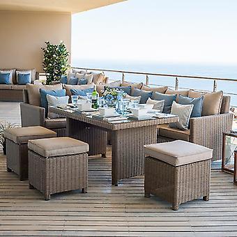 Nova - Ciara Outdoor Rattan Corner Sofa & Stools Dining Set