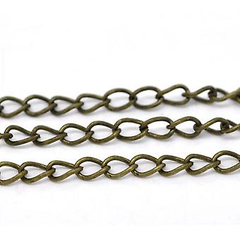 10m x Antique Bronze Plated Iron Alloy 4.2 x 6.4mm Open Curb Chain CH1305